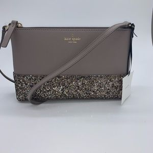 Kate Spade ♠️ Small Gray Glitter Crossbody NWT!